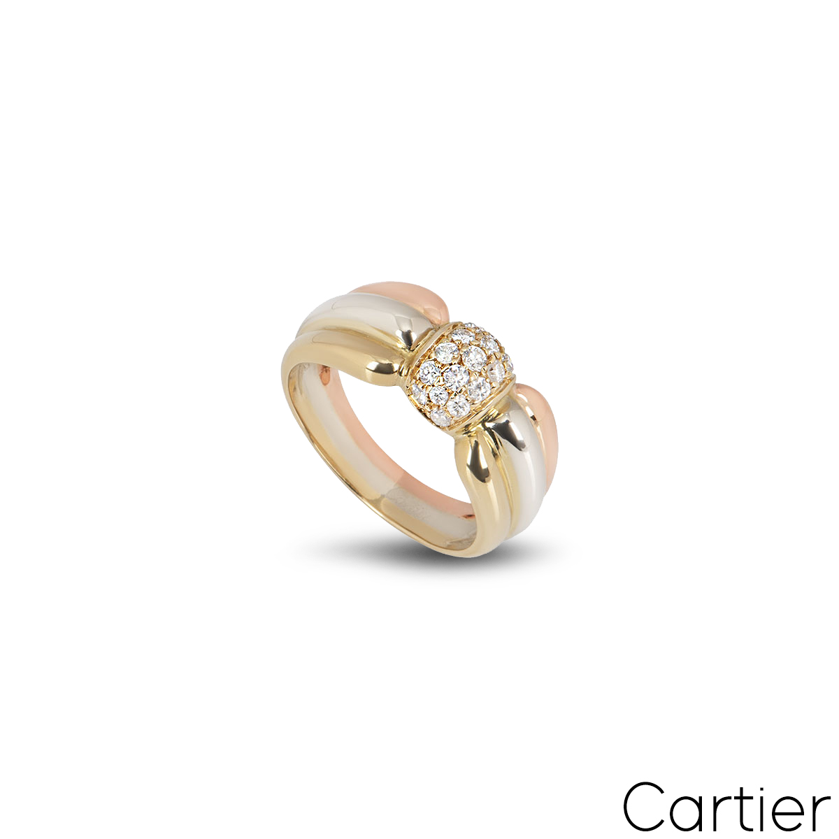 Cartier 18k 3 Colour Gold Diamond Set Trinity Dress Ring Size 51